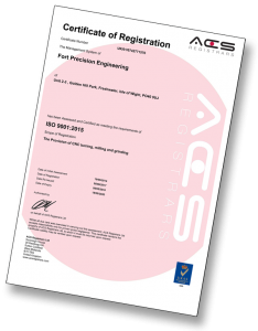 Fort Precision Engineering link to ISO certificate